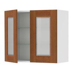 "AKURUM Wall cabinet with 2 glass doors - birch effect, Ädel medium brown, 30x30 ""  - IKEA"