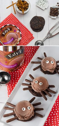 These ice cream Spiders are creepy, crawly and a super cool, family-friendly treat you can make with your kids. Start by topping a chocolate cookie with a small scoop of chocolate ice cream, and finish off this fun, creative treat with chocolate-dipped pretzel rod legs and candy eyes!