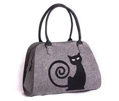 Cat handbag Felt cat purse Cat bag Christmas gift by volaris