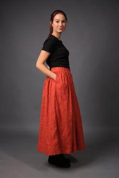 Linen skirt / Long Loose Linen skirt / Linen maxi skirt / Linen / Flax skirt