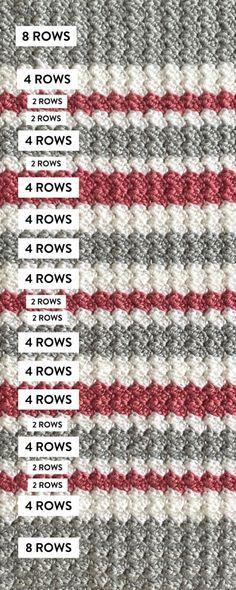 Striped Crochet Blanket, Crochet Baby Blanket Free Pattern, Crochet For Beginners Blanket, Afghan Crochet Patterns, Crochet Stitches, Knitting Patterns, Easy Knitting, Start Knitting, Crochet Afghans