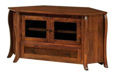 Amish Vienna Corner TV Stand Gather the family around the TV, hosted in style on a solid wood Vienna. Custom made in choice of wood, stain and features. American made in Amish country. #TVstands