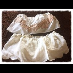 Bundle Two Adorable Handcrafted Bralettes Brand new w/o tags hand crafted flowy hippy boho Bralettes Tops stretchy inside bra with elastic both at top and bottom for good coverage and hold flowy on outside so adorable for festivals both creamy white one w gorgeous embroidery see pic* size s/m for reference I am 34b they fit me nicely Tops
