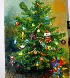 Купить Картина маслом Новогодняя Щелкунчик 40 на 50 см - зеленый, Праздник, Новый Год