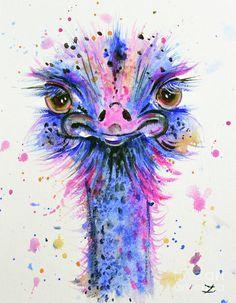 Cute Ostrich Painting by Zaira Dzhaubaeva