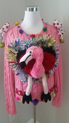 Ugly Christmas Sweater FLAMINGO Pink Joy Noel by UglySweatersForU Do you own an awesome ugly Christmas sweater? Tacky Christmas Party, Diy Ugly Christmas Sweater, Christmas Flamingo, Xmas Sweaters, Christmas Outfits, Christmas Ideas, Christmas Crafts, Ugly Sweater Day, Ugly Sweater Contest