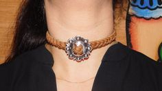 A personal favorite from my Etsy shop https://www.etsy.com/listing/464023710/the-head-honcho-concho-choker-on-tan