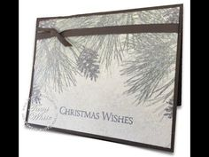 """Amazing Christmas """"wow"""" card video. Created using the """"Dryer sheet"""" technique. Details on blog: http://stampwithtami.com/blog/2014/10/pine-dryer-sheet/ #stampinup #christmas #cardmaking #crafting"""