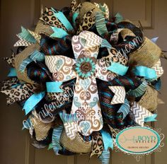 Western Rustic Brown and Turquoise, Leopard print and Burlap Cross Deco Mesh Wreath by Jennifer Boyd Designs.  www.facebook.com/JenniferBoydDesigns www.etsy.com/shop/JenniferBoydDesigns www.instagram.com/JenniferBoydDesigns