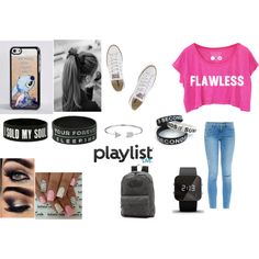 Playlist Live Fun by ambergrabowski on Polyvore featuring Frame Denim, Converse, Vans, 1:Face, Bling Jewelry and Disney