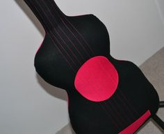 Hot Pink & Black Acoustic Guitar Pillow / Guitar Softie    MADE TO ORDER    Are you ready to Rock?    Our rocking hot pink & black acoustic guitar