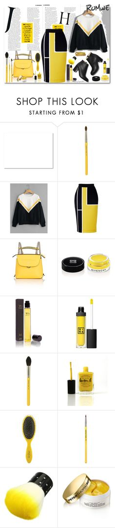 """""""ROMWE Yellow, Black & White"""" by emperormpf ❤ liked on Polyvore featuring Bdellium Tools, Fendi, Givenchy, Wendy Nichol, 3ina, Lauren B. Beauty, Drybar and Peter Thomas Roth"""