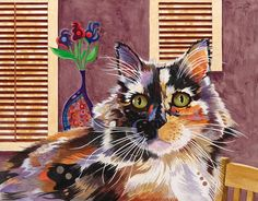 'Monet' Acrylic Painting  by Bob Coonts (This Cat Was Really Colored Just About Like This - She Really Worked w/Me When I Was Photographing and Painting Her) ♥🌸♥