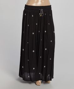 Love this Highness NYC Black Floral Tie-Waist Maxi Skirt - Plus by Highness NYC on #zulily! #zulilyfinds