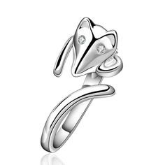 Free Shipping New Beautiful Fashion silver plated wedding ring fox on finger anillos to.us bear jewelry SMTR589