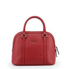 Gucci 449663 Red Leather Medium Convertible Micro GG Dome Satchel Purse