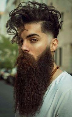Curly hair Fade Haircut For Men 2020 Man Bun Curly Hair, Fade Haircut Curly Hair, Long Curly Hair Men, Natural Hair Men, Beard Haircut, Beard Styles For Men, Hair And Beard Styles, Curly Hair Styles, Long Beards