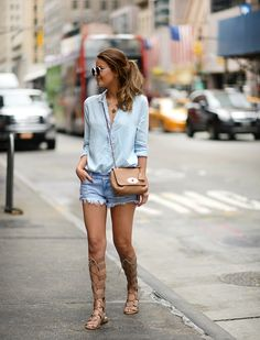 Denim shorts blue shirt summer Mulberry lily street chic style nette nestea