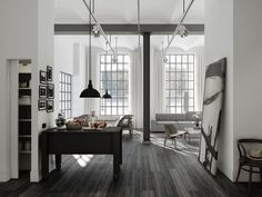 leather factory apartments outside of stockholm, for sale through oscar properties Interior Exterior, Interior Architecture, Leather Factory, Industrial Apartment, Industrial Loft, Industrial Windows, Estilo Industrial, Big Windows, Dark Flooring