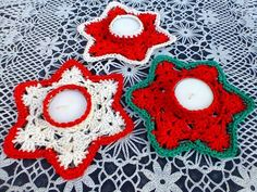 Crochet Christmas Ornaments, Christmas Crochet Patterns, Christmas Tea, Christmas Crafts, Christmas Decorations, Merry Christmas, Crochet Home, Crochet Motif, Diy Crochet