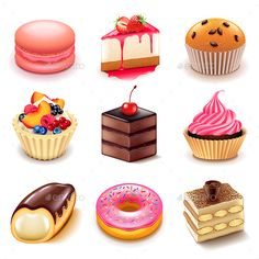 Buy Cakes Icons Vector Set by on GraphicRiver. Cakes Icons Detailed Photo Realistic Vector Set Zip file includes: - editable vector - high-resolution jpg - l. Cake Icon, Cute Food Drawings, Kawaii Dessert, Food Sketch, Buy Cake, Cake Logo, Food Icons, Food Illustrations, Macaroons