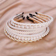 White Headband, Pearl Headband, Crown Headband, Bridesmaid Accessories, Wedding Accessories, Hair Accessories, Bridesmaid Headband, Alice Band, Handmade Jewelry