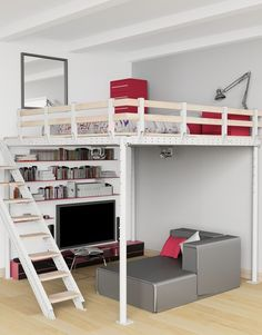 double loft beds for girls room * double loft beds ; double loft beds for kids ; double loft beds for small rooms ; double loft beds for girls room ; double loft beds for kids diy ; Bedroom Loft, Teen Bedroom, Dream Bedroom, Bedroom Decor, Bedroom Ideas, Bedroom Furniture, Mezzanine Bedroom, Warm Bedroom, Bunk Beds With Stairs