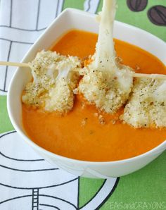 Tomato soup with baked mozzarella balls... must I repeat?  BAKED MOZZARELLA BALLS!