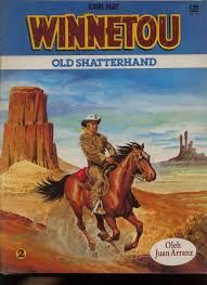 Old Shatterhand is a fictional character in western novels by German writer Karl May (1842-1912). He is the German friend and blood brother of Winnetou, the fictional chief of the Mescalero tribe of the Apache.