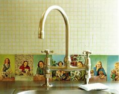 Here's a keen idea for a kitchen or bathroom backsplash using vintage postcard images from the book, Creating Vintage Style.