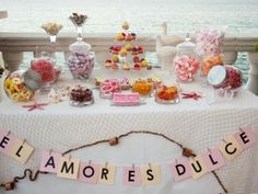 Ideas for sweet tables for your wedding - Party and Wedding Candy Bar Wedding, Wedding Table, Wedding Ideas, Candy Table, Candy Buffet, Oreo, Mexican Candy, Cookie Table, Birthday Parties