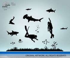 Wall's Tale Wall Decals - Turkey - Underwater wall decal - Deep sea wall decal with two scuba divers, sharks decals, jellywish decals, fishes, $49.00 (http://www.wallstale.com/underwater-wall-decal-deep-sea-wall-decal-with-two-scuba-divers-sharks-decals-jellywish-decals-fishes/)