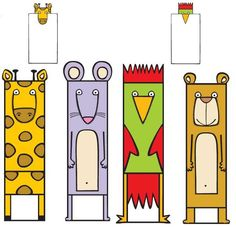 Animal Bookmarks - Site is in Spanish, but there is a coloring sheet you cut the mouths to fit on the book page. Corner Bookmarks, Bookmarks Kids, Coloring Sheets, Coloring Pages, Paper Toys, Paper Crafts, Diy For Kids, Crafts For Kids, Finger Puppet Patterns