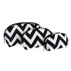 luggage c3 601 3pc oval cosmetic case chevron black lg.jpg