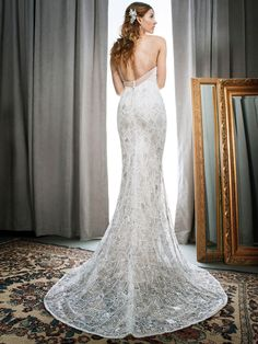 Kenneth Winston Style 1711 | glamorous head-to-toe sequin gown with plunging neckline | luxurious bridal gown
