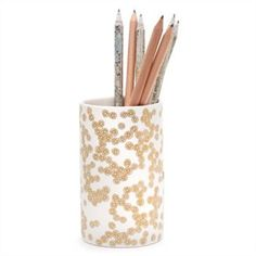 Pen Cup - Gold and White
