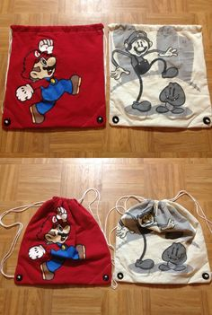 Upcycled Mario T-shirt Backpacks