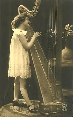 Vintage Postcard ~ Girl Playing Harp | Flickr - Photo Sharing!