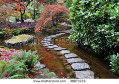 The japanese garden inside the historic butchart gardens in autumn (over 100 years in bloom), vancouver island, british columbia, canada