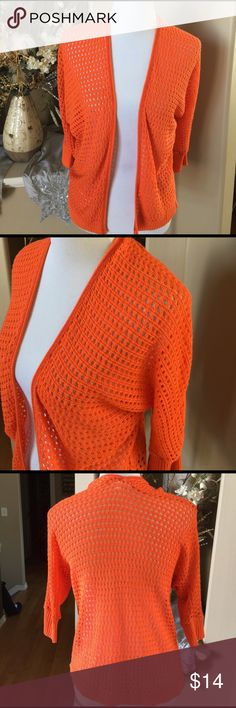 Orange Open Front Shrug 100% acrylic. SD Say What? Tops