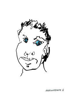 serigrafía con los ojos azules