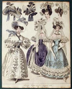 """Fashion plate, 1830. """"Newest Fashions for August 1830: Court, Evening, and Morning Dress""""."""