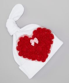 This tiny bundles White & Red Rosette Heart Beanie by tiny bundles is perfect! #zulilyfinds