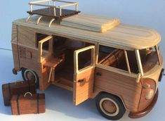 VW Bulli camper wooden model
