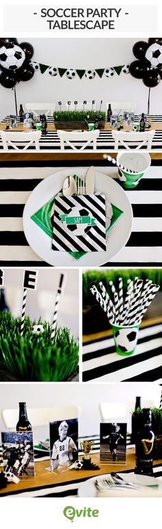 Plan a soccer party your team of friends will cheer for, starting with this tablescape in eye-catching black and white. With a setup this striking, your guests are sure to have a ball! A black-and-white striped tablecloth and napkins extend the soccer theme. Tiny trophies and balls make playful additions to the decor.