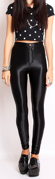 a very 50's look with the cropped polka dot and disco pants - disco pants