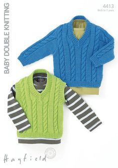 Cabled Jumper and Waistcoat in Hayfield Baby DK - 4413