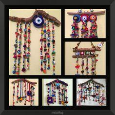 nazarlık, felt, amulet, handmade, turkish eye, feltro, driftwood