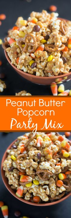 Peanut Butter Popcorn Party Mix is one of our favorite Fall snacks! Fresh popped popcorn coated in a creamy peanut butter sauce. Add some pretzels, reese's pieces and candy corn and you wont be able t(Popcorn Mix Recipes) Popcorn Mix, Popcorn Snacks, Popcorn Recipes, Oreo Popcorn, Toffee Popcorn, Sweet Popcorn, Flavored Popcorn, Snack Mix Recipes, Fall Recipes