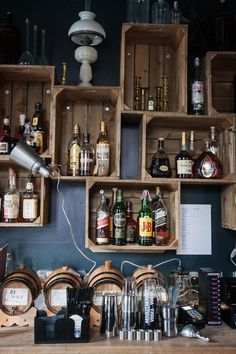 Like the storage/display shelves for this bar....very rustic